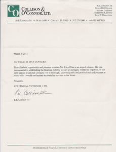Westchester Investments & Consulting testimonial letter